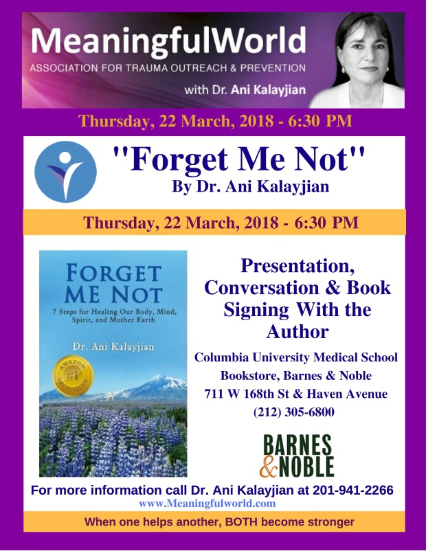 Forget Me Not book speak at Columbia Barnes & Noble, Dr. Kalayjian 22 March, 2018