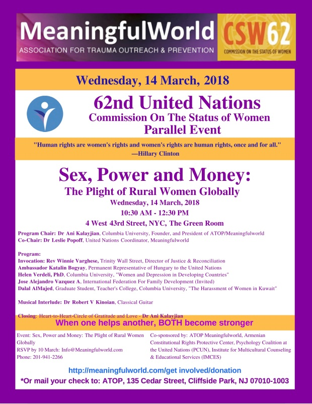 Meaningfulworld UN CSW, 14 March, Sex, Money & Power, Empowering Women 2018, 10.30 am